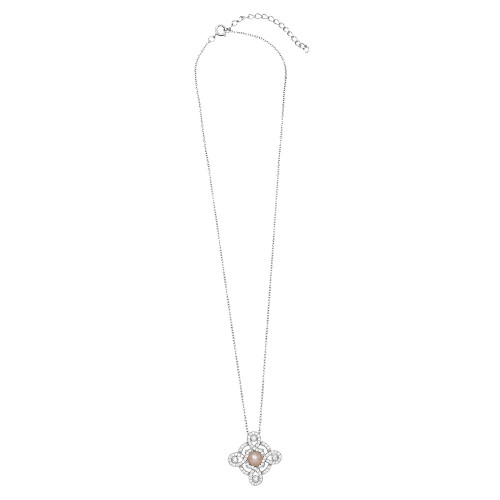 Wholesale Sterling Silver 925 Rhodium Plated Pearl Center Cross Necklace - BGP01296