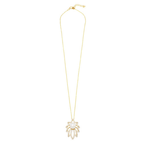 Wholesale Sterling Silver 925 Gold Plated CZ Encrusted Floral Outline Synthetic Center Pearl Necklace - BGP01160