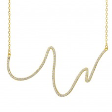 Wholesale Sterling Silver 925 Gold Plated Wave Design with CZ Necklace - BGP01161GP