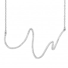 Wholesale Sterling Silver 925 Rhodium Plated Wave Design with CZ Necklace - BGP01161RHD