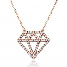 Wholesale Sterling Silver 925 Rose Gold Plated Diamond Outline CZ Necklace - BGP01162RGP