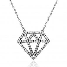 Wholesale Sterling Silver 925 Rhodium Plated Diamond Outline CZ Necklace - BGP01162RH