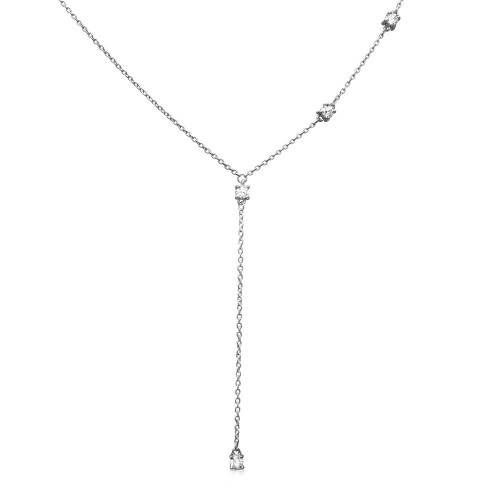 Wholesale Sterling Silver 925 Rhodium Plated Dropped Round CZ Necklace - BGP01164