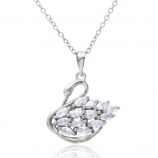 Sterling Silver Rhodium Plated CZ Swan Necklace - BGP01166