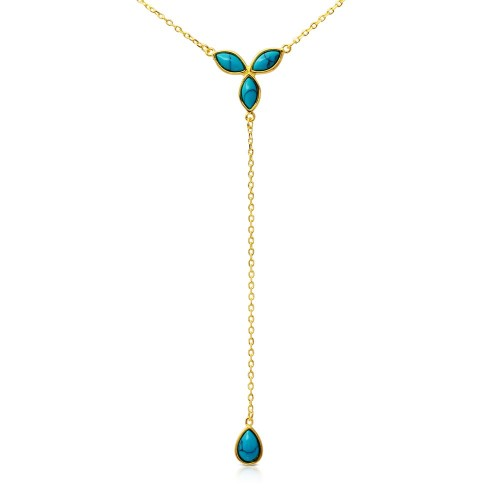 Wholesale Sterling Silver 925 Gold Plated Hanging Turquoise Pearl Necklace - BGP01171
