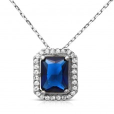 Wholesale Sterling Silver 925 Rhodium Plated Blue Square Halo Pendant - BGP01174BLU