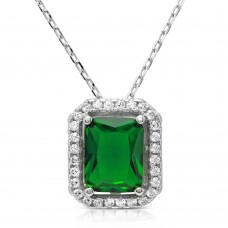 Wholesale Sterling Silver 925 Rhodium Plated Green Square Halo Pendant - BGP01174GRN