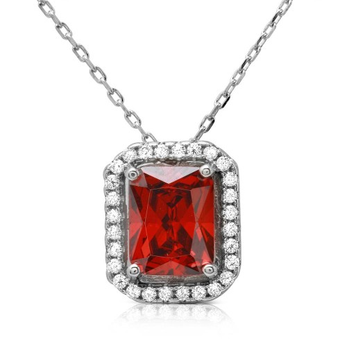 Wholesale Sterling Silver 925 Rhodium Plated Red Square Halo Pendant - BGP01174RED