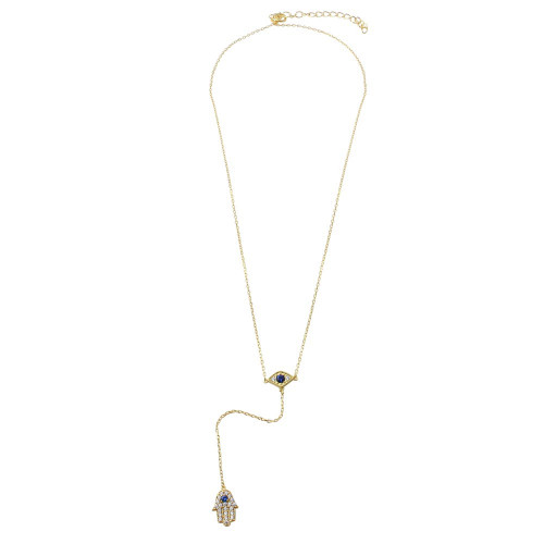 Wholesale Sterling Silver 925 Gold Plated Evil Eye with Dropped Hamsa and CZ - BGP01175GP