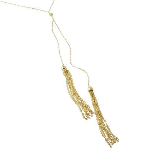 Wholesale Sterling Silver 925 Gold Plated 2 Dropped Tassel Necklace - BGP01178GP