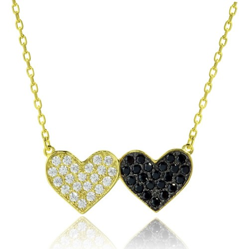 Wholesale Sterling Silver 925 Gold and Black Rhodium Plated Doubt Heart Necklace with CZ - BGP01179