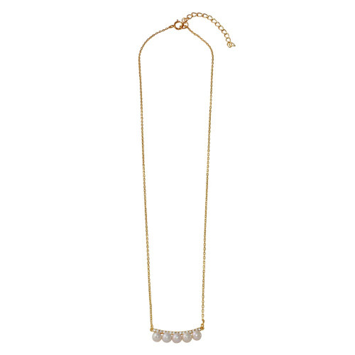 Wholesale Sterling Silver 925 Curved Bar with CZ and Hanging Fresh Mother of Pearl Necklace - BGP01181
