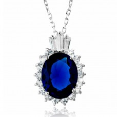 Sterling Silver Rhodium Plated Blue Oval Pave with Baguette Crown CZ - BGP01188BLU