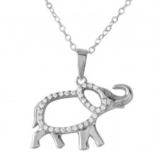 Sterling Silver Rhodium Plated Elephant with CZ Necklace - BGP01190