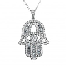 Sterling Silver Rhodium Plated CZ Encrusted Hamsa Hand Necklace - BGP01191