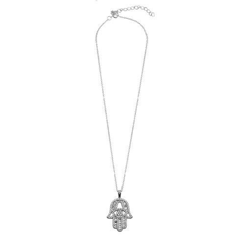 Wholesale Sterling Silver 925 Rhodium Plated CZ Encrusted Hamsa Hand Necklace - BGP01191