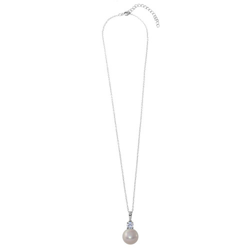 Wholesale Sterling Silver 925 Rhodium Plated Round CZ with Dangling Fresh Mother of Pearl - BGP01192