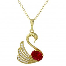 Sterling Silver Gold Plated Swan Necklace with CZ - BGP01193