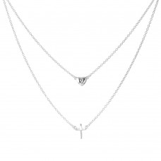 Wholesale Sterling Silver 925 Rhodium Plated Double Strand Heart and Cross Necklace - BGP01198