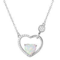 Wholesale Sterling Silver 925 Rhodium Plated Opal Heart inside Open Heart with CZ - BGP01199