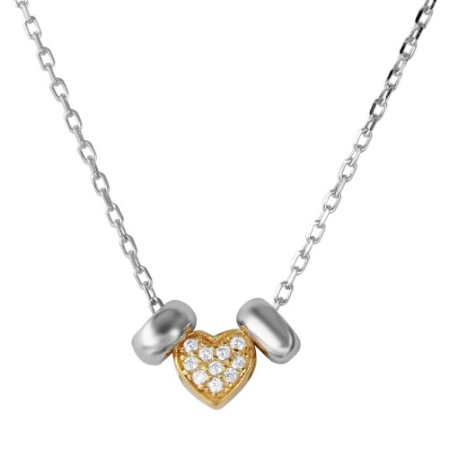 Wholesale Sterling Silver 925 Rhodium and Gold Plated CZ Heart with 2 Hoop Necklace - BGP01201