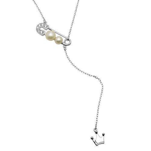 Wholesale Sterling Silver 925 Rhodium Plated CZ Pin with Fresh Water Pearl Dropped Crown Necklace - BGP01204