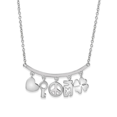 Wholesale Sterling Silver 925 Rhodium Plated Slanted Line Bar Necklace with Dangling Charms - BGP01209
