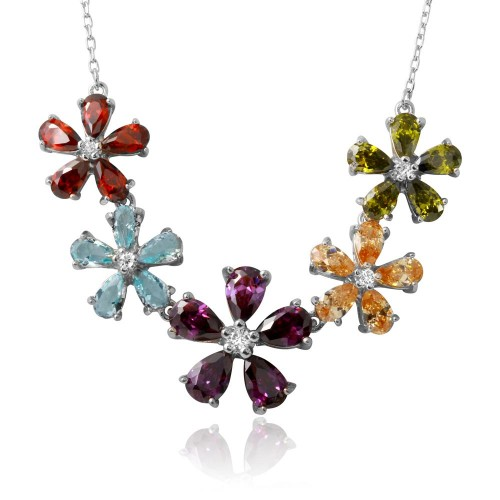 Wholesale Sterling Silver 925 Rhodium Plated 5 Multi Color CZ Flower Necklace - BGP01212