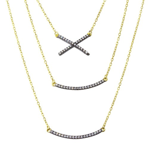 Wholesale Sterling Silver 925 Gold Plated Triple Strand Necklace with CZ Curved Bar and CZ X - BGP01213