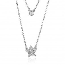 Wholesale Sterling Silver 925 Rhodium Plated Double Strand Round CZ and CZ Star Necklace - BGP01216