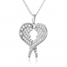 Wholesale Sterling Silver 925 Rhodium Plated Open Overlapping Broken Heart Necklace - BGP01219