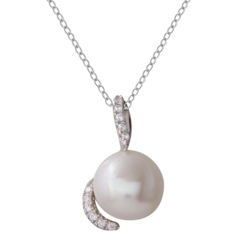 Wholesale Sterling Silver 925 Rhodium Plated Fresh Water Pearl Necklace with Hooked CZ - BGP01220