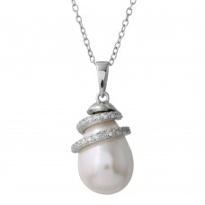Wholesale Sterling Silver 925 Rhodium Plated Fresh Water Pearl Necklace with Wrapped CZ - BGP01221