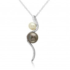 Wholesale Sterling Silver 925 Rhodium Plated Fresh Water Pearl with Slanted CZ Design Necklace - BGP01222
