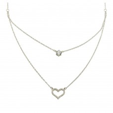 Wholesale Sterling Silver 925 Rhodium Plated Double Chain Heart Necklace with CZ - BGP01224