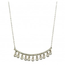 Wholesale Sterling Silver 925 Rhodium Plated Curved Bar Necklace with Dangling CZ Stones - BGP01225