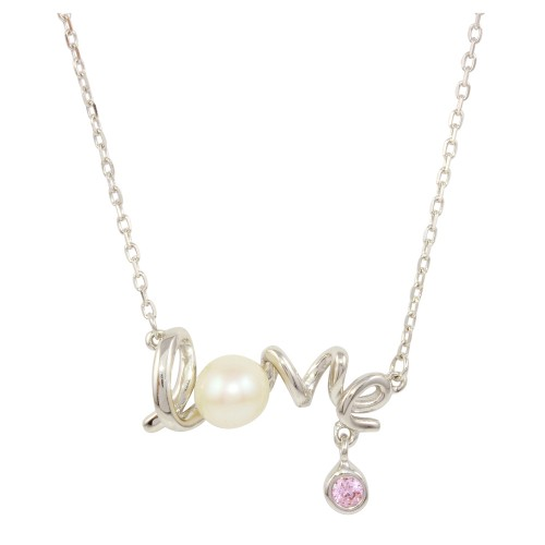 Wholesale Sterling Silver 925 Rhodium Plated Love Word Necklace - BGP01226