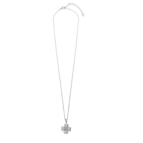 Wholesale Sterling Silver 925 Rhodium Plated Clover CZ and Synthetic Opal Leaf Necklace - BGP01228