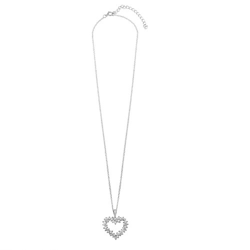 Wholesale Sterling Silver 925 Rhodium Plated Multi CZ Open Heart Necklace - BGP01229