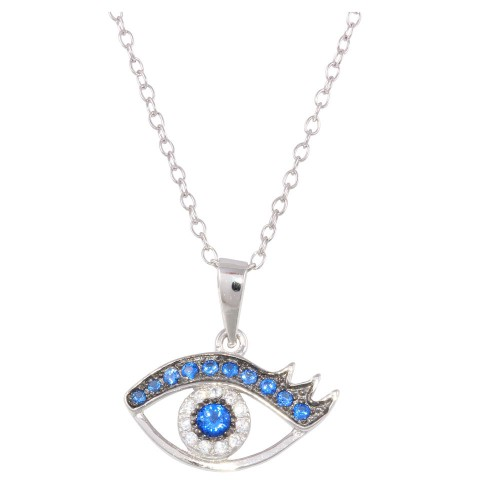 Wholesale Sterling Silver 925 Rhodium Plated Small Evil Eye Pendant Necklace with Clear and Blue CZ - BGP01230