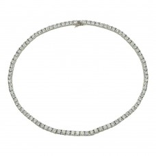 Wholesale Sterling Silver 925 Rhodium Plated Tennis CZ Necklace - BGP01239