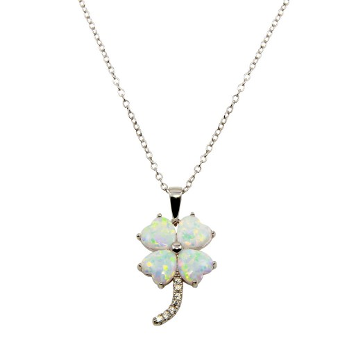 Wholesale Sterling Silver 925 Rhodium Plated CZ Opal Clover Leaf Necklace - BGP01240