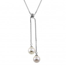 Sterling Silver Rhodium Plated Box Drop Synthetic Pearl Necklace - BGP01243
