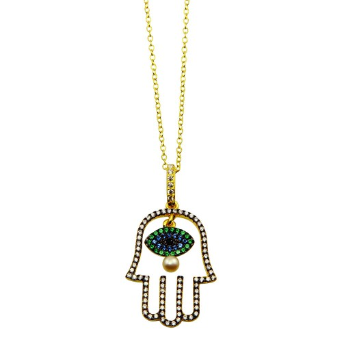 Wholesale Sterling Silver 925 Gold Plated Hamsa Hand with Multi Color CZ Stones - BGP01246