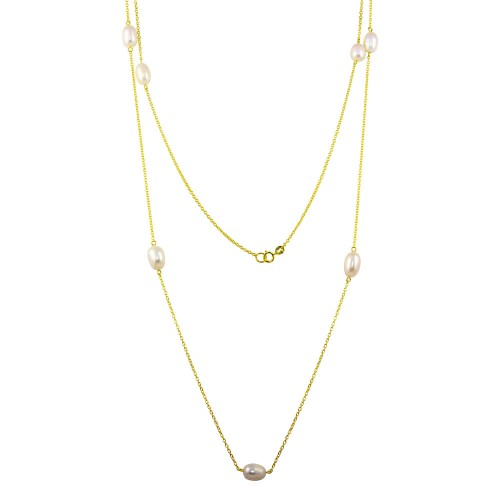 Wholesale Sterling Silver 925 Gold Plated Fresh Water Pearls Necklace - BGP01249-GP