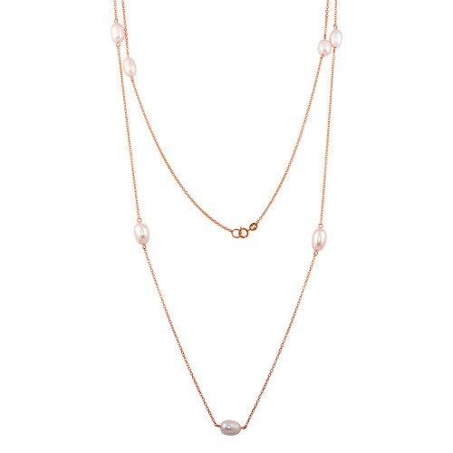 Wholesale Sterling Silver 925 Rose Gold Plated Fresh Water Pearls Necklace - BGP01249-RGP