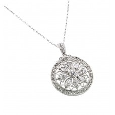 Wholesale Sterling Silver 925 Rhodium Plated Disc Designed Filigree CZ Necklace - BGP00441RH