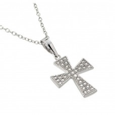 Wholesale Sterling Silver 925 Rhodium Plated Cross CZ Inlay Necklace - BGP00580