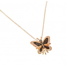 Sterling Silver Rose Gold Plated Butterfly Black and Clear CZ Necklace - BGP00657