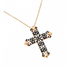 Wholesale Sterling Silver 925 Rose Gold and Black Plated Clear Cross CZ Necklace - BGP00687RGP
